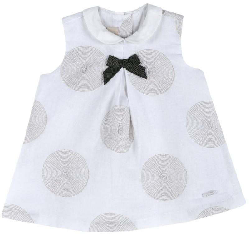 White linen baby dress