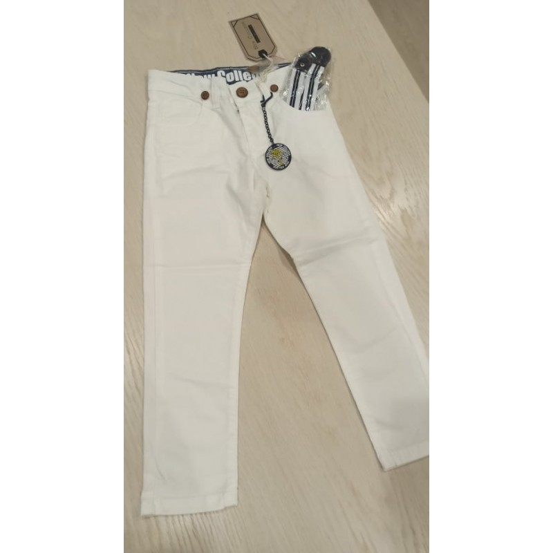 White trousers with suspenders
