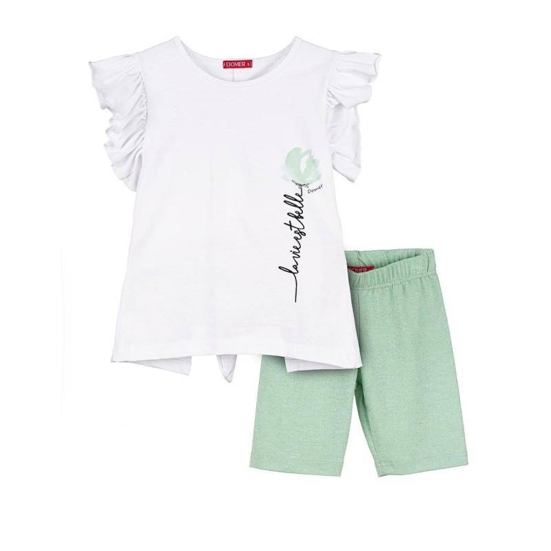 Set white blouse / mint leggings