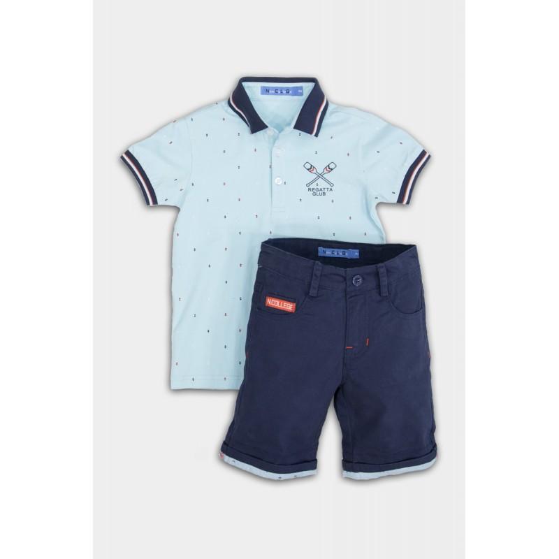 Set with blue shorts