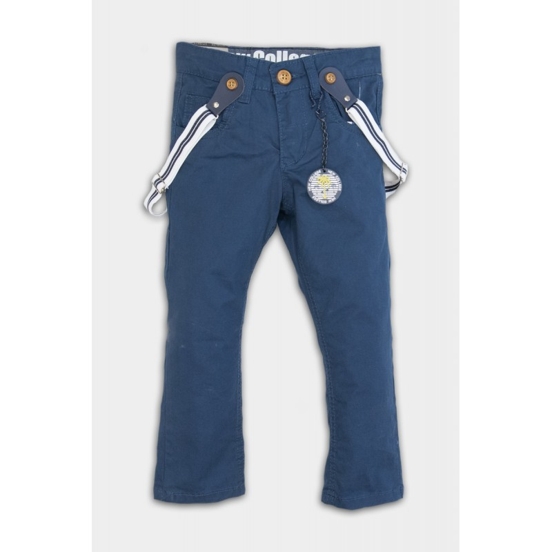 Blue trousers with suspenders