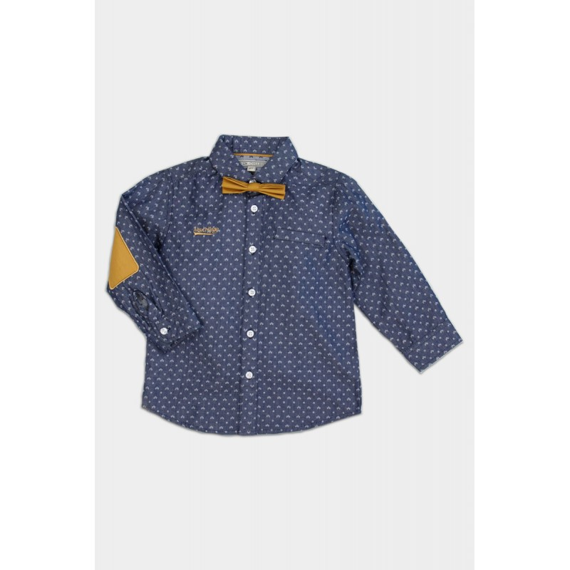 Blue shirt with papillon