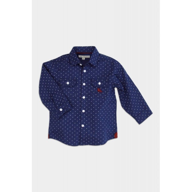 blue shirt with red details