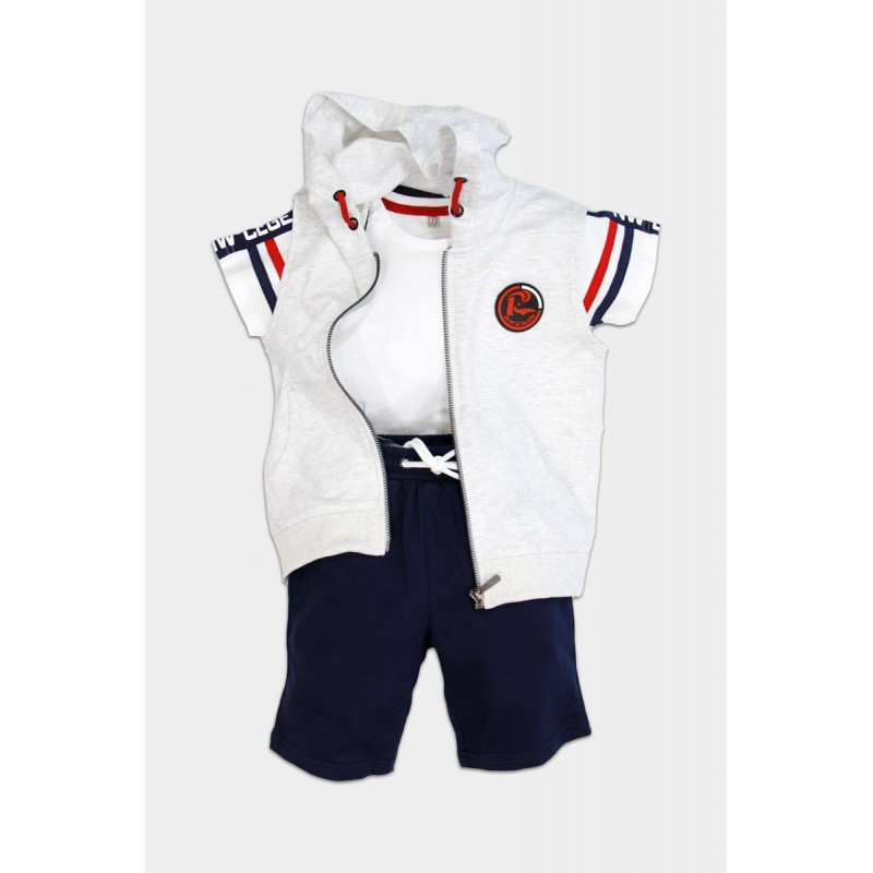 Set with hooded cotton vest