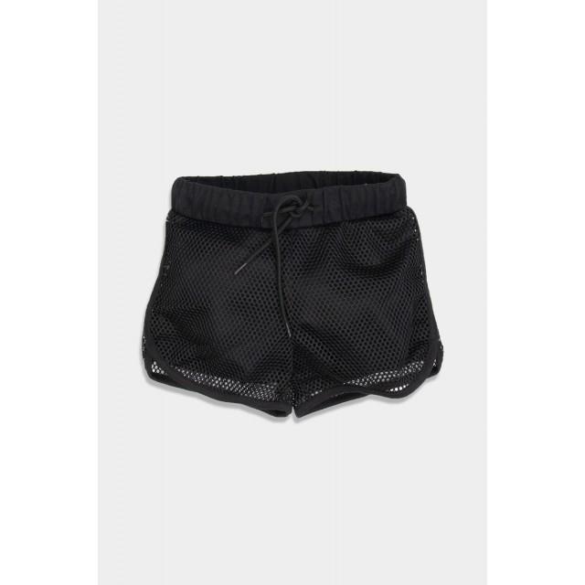 Black shorts with fishnet