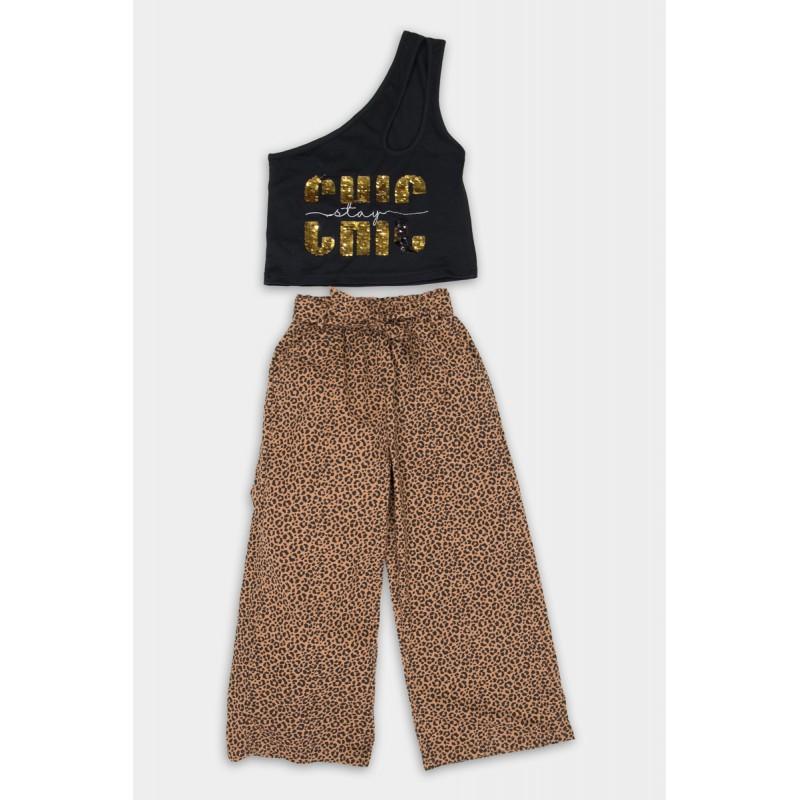Set with leopard pants
