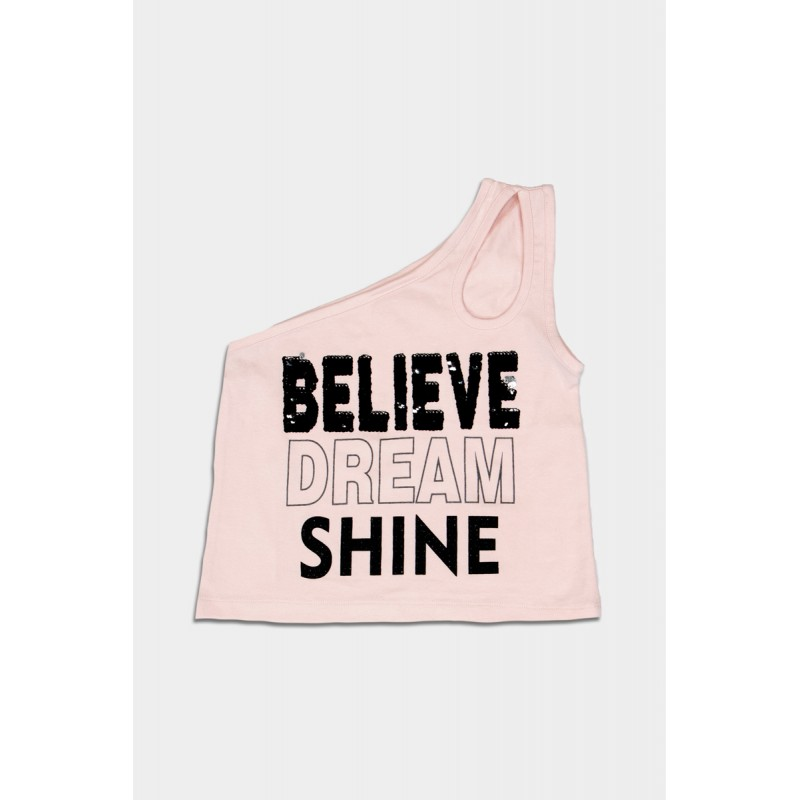 Pink top with one shoulder and sequins
