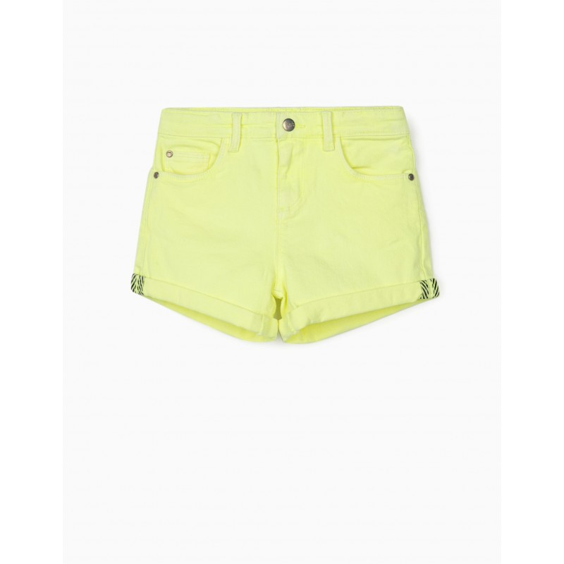 Jean shorts in fluo yellow