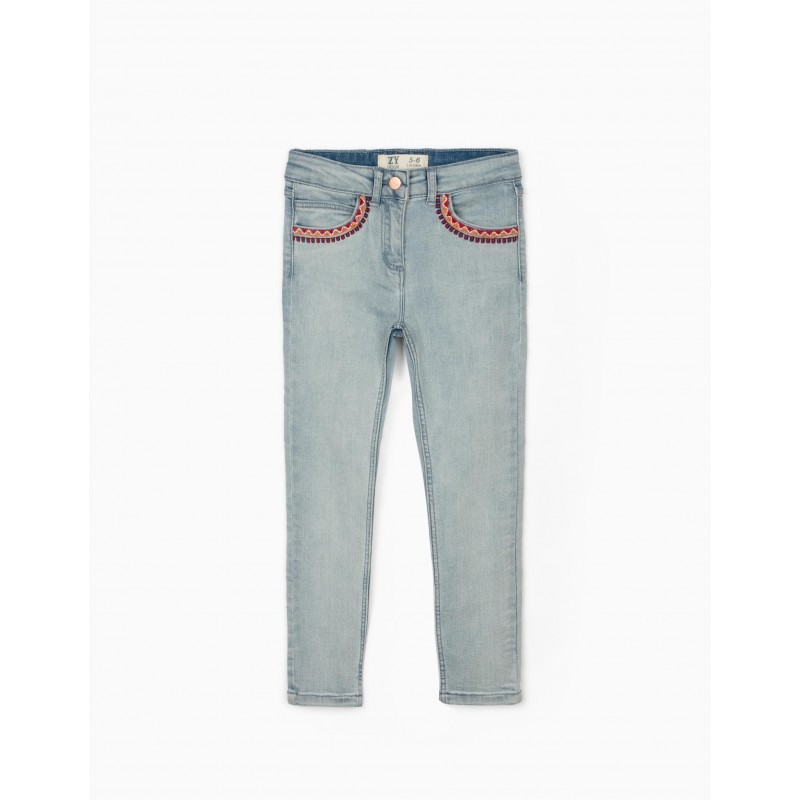 Light blue skinny jeans with emboidery
